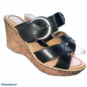 BOC Black Cork Wedge Sandals